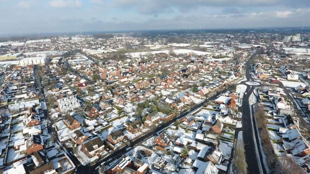 Luftaufnahme Wohngebiet Ochtrup im Winter